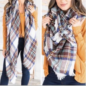 Best seller! Teal plaid oversized blanket scarf